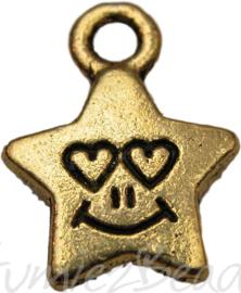 00764 Hanger ster lachend gezicht met hartjes Antiek goud 14mmx10mm
