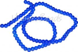 02046 Glaskraal crackle streng ±40cm Blauw 4mm; gat 0,5mm 1 streng