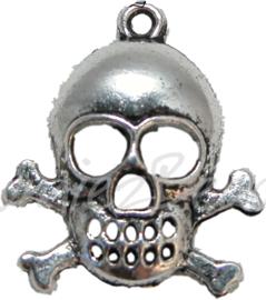 00174 Hanger doodshoofd been Antiek zilver (Nikkelvrij) 26,5mmx22mmx4,5mm 1 stuks
