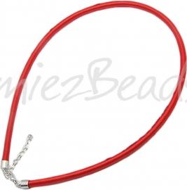 Silk-5007 Ketting Zijde koord Rood ±45cm (Zonder verlengketting) 1 stuks
