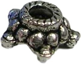 00118 Kralenkap Touw Antiek zilver (Nikkelvrij) 6mm; gat 2mm ±25 stuks