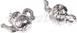 03852 Bedel Theepot Antiek zilver (Nickel vrij) 16mmx12mmx8mm