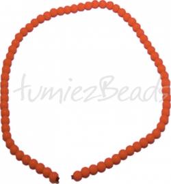 03528 Glaskraal streng (±40cm) Baking painted Oranje 6mm 1 streng
