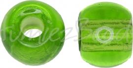 02690 Tsjechische glaskraal Groen 9mmx11,5mm; gat 4mm 5 stuks