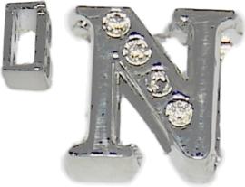 04249 Schuifkraal Letter N Metaalkleurig (Nikkelvrij) 9mmx9mm; gat 6,5mmx3,5mm 1 stuks