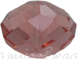 01015 Glaskraal Imitatie Swarovski 5040 briolette Roze 14mmx18mm 3 stuks