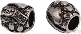 02881 Pandora-stijl kraal hondenpoot Antiek zilver (Nikkelvrij) 10,5x11x11mm; gat 5mm 2 stuks