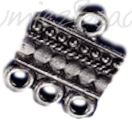 01512 Verdeler 1-3oogjes Zwart (Nikkelvrij) 15mmx13mm 6 stuks