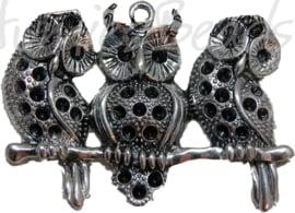 00057 Bedel 3 uilen op een tak Antiek zilver (Nickel vrij) 60mmx89mm