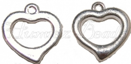 01838 Metallook bedel hart Zilverkleurig 18mmx17mm