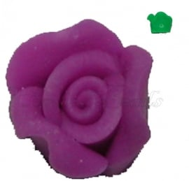 01695 Fimo kraal roosje Paars 10mmx6mm 6 stuks