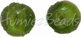 02931 Glaskraal zilverfoil rond Groen 10mm