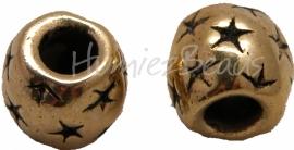 02121 Metalenkraal met sterretjes Antiek goud 9mmx10mm; gat 5mm 5 stuks