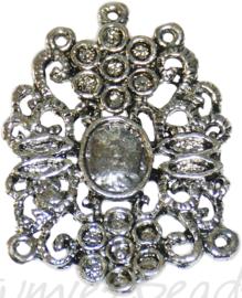 04158 Tussenstuk cabochonsetting Antiek zilver (Nikkelvrij) 45mmx35mmx2mm; binnenzijde 10mmx8mm 2 stuks