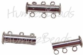 01101 Magneetschuifslot 3-rings Zilverkleurig 20mmx7mm 1 stuks