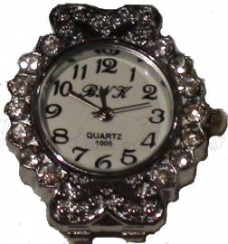 01912 Horloge bling Metaalkleurig/Chrystal  1 stuks