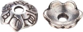 04473 Kralenkap Cirkel Antiek zilver (Nikkelvrij) 8mmx2mm; gat 1,5mm ±16 stuks