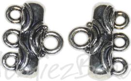 02455 Verdeler 1-3gaats Antiek zilver 11mmx15mm; oog 2,5mm 4 stuks