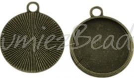 02102 Hanger cabochon setting Antiek brons (Nikkelvrij) 22mmx19mmx1,5mm; binnenzijde 16mm 1 stuks
