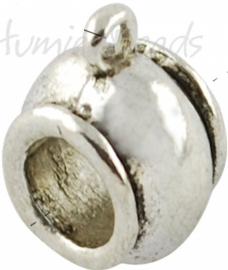 03834 Spacer met oog Antiek zilver (Nikkelvrij) 4 stuks