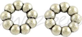 02361 Gesloten ring daisy Antiek zilver (Nickel vrij) 11mmx3mm; gat 4,5mm 5 stuks