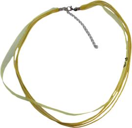 OL-0020 Organzalint met waxkoord Geel 1 ketting