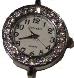 01108 Horloge bling Metaalkleurig/Chrystal  1 stuks
