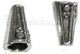 01953 Kralenkap hoekig Antiek zilver (Nickel vrij) 13mmx8mm 6 stuks