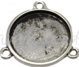 02707 Tussenstuk Cabochon setting Antiek zilver (Nickel vrij) 21mmx2mm; binnenzijde 16mm 1 stuks