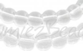 03901 Glaskraal rond streng (±30cm) Transparant 3mm; gat 1mm 1 streng