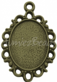 03220 Hanger cabochon setting Antiek brons (Nikkelvrij) 30mmx20mmx2mm; binnenzijde 18mmx13mm 1 stuks
