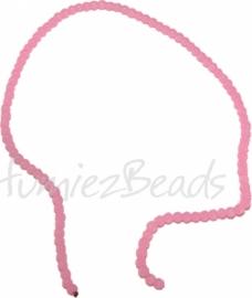 03473 Glasperle strang ±40cm Jelly Pink 4mm 1 strang