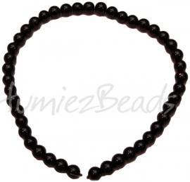 03401 Glaskraal streng (±30cm) crackle Bruin 10mm 1 streng