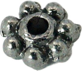 04500 Spacer Daisy Gunmetal (Nikkelvrij) 4mmx1,5mm; gat 1mm ±35 stuks