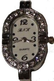 00905 Horloge bling Metaalkleurig/Chrystal  1 stuks