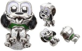 02059 Metalen kraal Hond Metaalkleurig / groen 13x10x8mm; gat 4,5mm 1 stuks