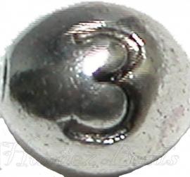 03169 Metalen kraal cijfer 3 Antiek zilver (Nickel vrij) 7mmx6mm; gat 1mm 1 stuks