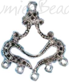 04200 Verdeler hart Antiek zilver (Nikkelvrij) 32mmx24mmx2mm; oog 1,5mm 3 stuks