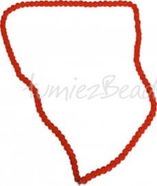 03566 Glaskraal streng (±40cm) crackle Oranje 4mm 1 streng