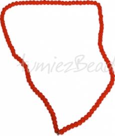 03566 Glasperle strang (±40cm) crackle Orange 4mm 1 strang