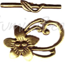 00222 Kapittelslot bloem Goudkleurig (Nikkelvrij) 30mmx20mm 2 stuks