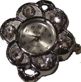 02412 Horloge bling Metaalkleurig/Chrystal  1 stuks
