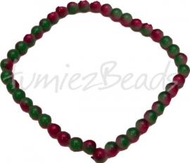 03389 Glaskraal streng (±30cm) double color Groen/rood 10mm 1 streng
