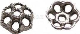 02113 Kralenkap open Antiek zilver (Nickel vrij) 3,5mmx10mm 11 stuks