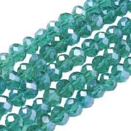01645 Glaskraal imitatie Swarovski Faceted abacus Donker groen 6x8mm; gat 1mm 1 streng