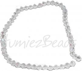 01207 Glaskraal streng ±30cm facet Transparant AB color 6mm 1 streng
