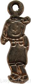00910 Bedel vrolijk meisje Antiek goud 18mmx5mm 5 stuks
