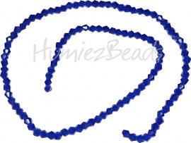 03989 Glaskraal imitatie swarovski Bicone streng ±40cm dark blue 4mm  1 streng
