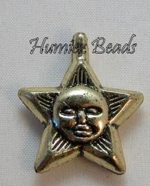 02805 Metallook bedel Ster Antiek goud 27mmx23mm