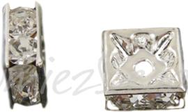 03478 Spacer vierkant Rhinestone Zilverkleurig (Nickel vrij) 10mm; gat 2mm 3 stuks